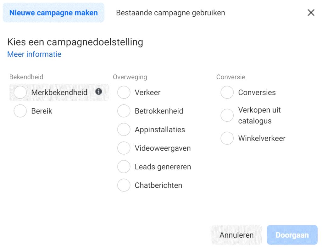 Campagne doelstellingen in de Facebook advertentie module