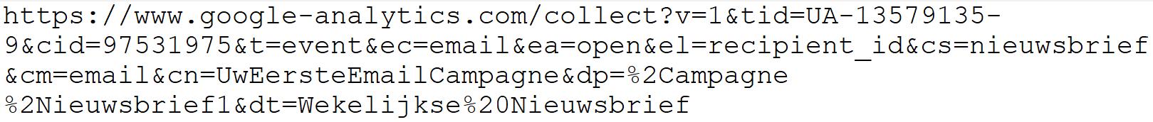 Voorbeeld URL bij email tracking middels Google Analytics