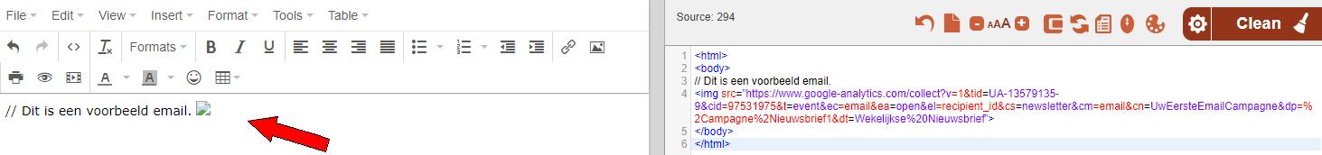 Voorbeeld trackingcode in een html editor