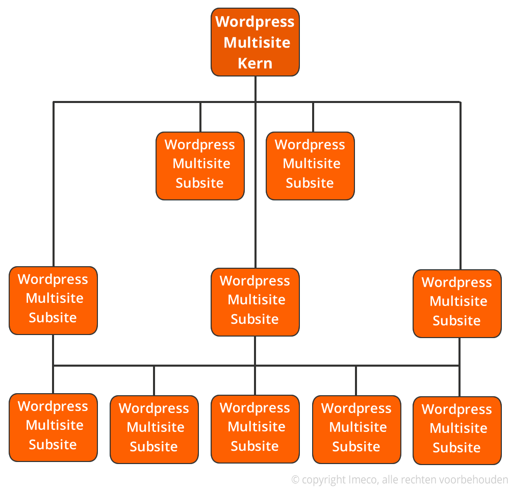 Netwerkweergave van een WordPress Multisite